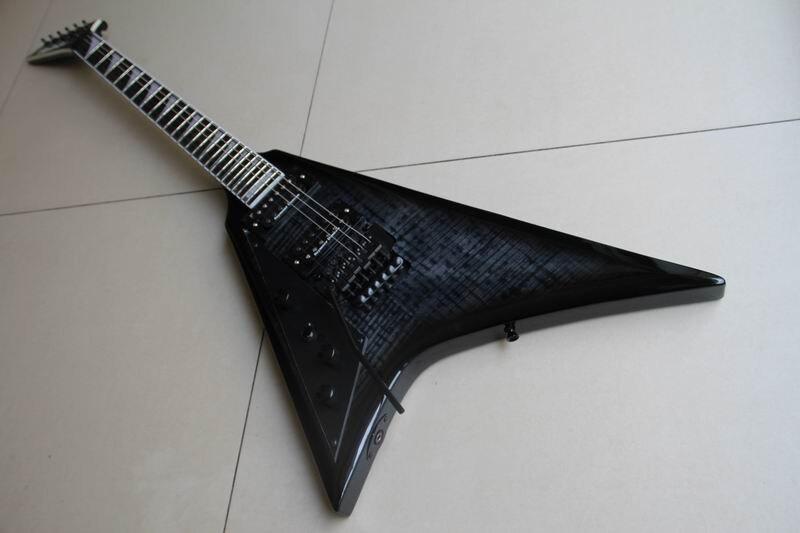 Vente en gros Jackson randy rhoads volant V gaucher dans le charbon de bois rafale Guitarra 111030