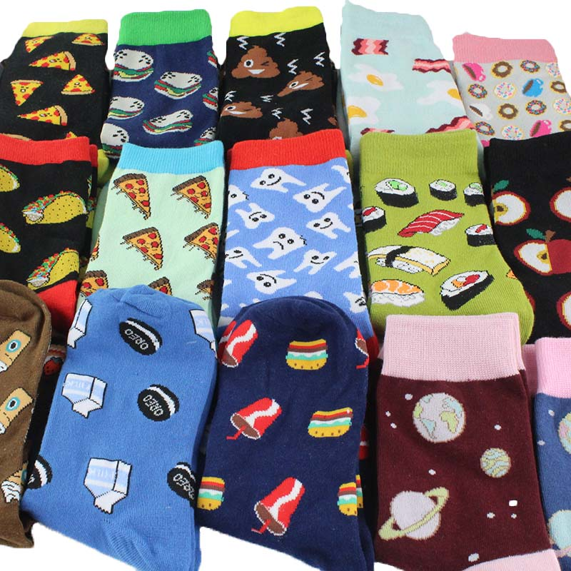Creative High Quality Fashion Harajuku Kawaii Happy   Socks   Women Lingerie Food Hamburg Planet Animal Print Funny   Socks   Cute   Socks
