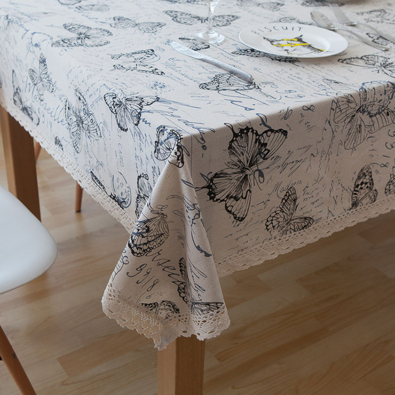 Image 2 - Countryside Letter Butterfly Print Tablecloth Lace Solid Rectangular Dining Table Cover Obrus Tafelkleed Kitchen Home Decorative-in Tablecloths from Home & Garden