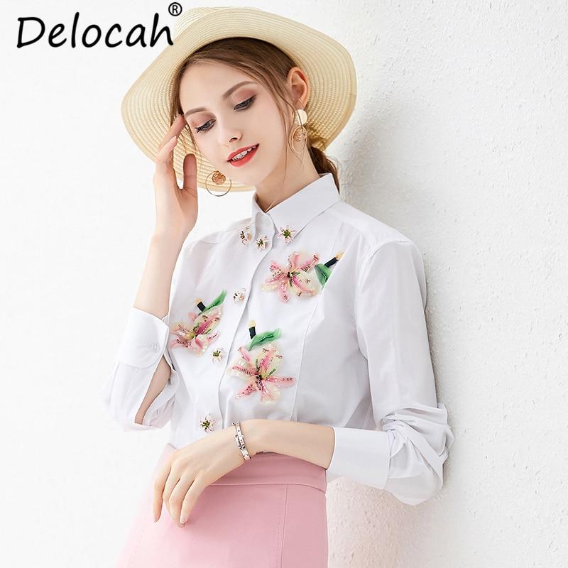 Delocah Herbst Frauen Hemd Runway Fashion Langarm Elegante Floral Print Pailletten Perlen Weiß Blusen Casual Tops 2019-in Blusen & Hemden aus Damenbekleidung bei  Gruppe 2