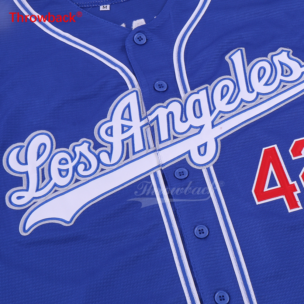 0874909fafb9 Throwback Jersey Men s Los Angeles Jerseys Customize Any Name Number  Baseball Jersey Light Gray Blue Size S XXXL Free Shipping -in Baseball  Jerseys from ...