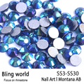 SS3-SS30 Montana AB Nail Art Rhinestones With Round Flatback For Nails Art Cell Phone And Wedding Decorations