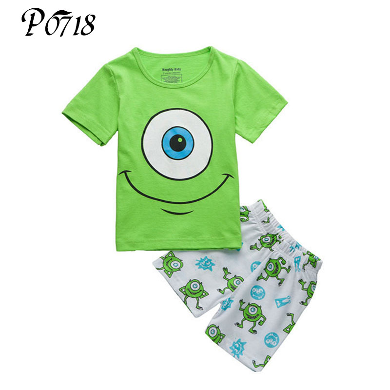 Kids Boys Cartoon Clothes Short Sleeve T-shirt + Shorts Trousers Outfits 2018 Summer Toddler Children Home 2 Pieces Cute Suits