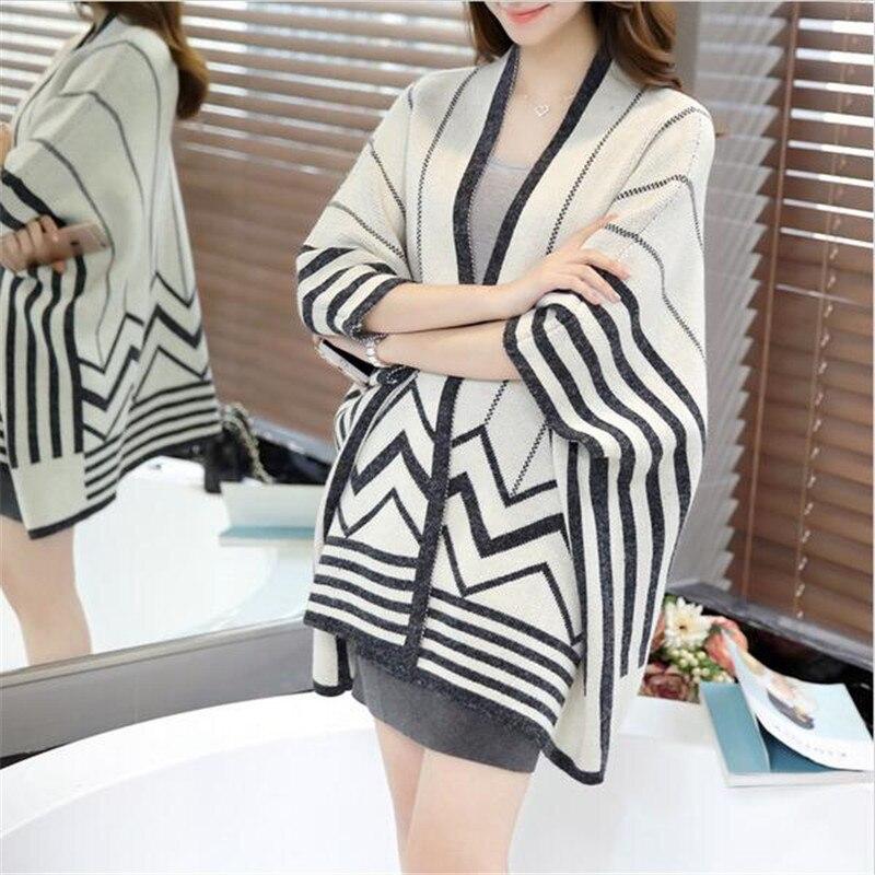 Spring Loose Bat Sleeve Shawl Sweater Women Cardigan Knit Sweater Coat Casual Women's Oversized Sweaters Shawl Ponchos