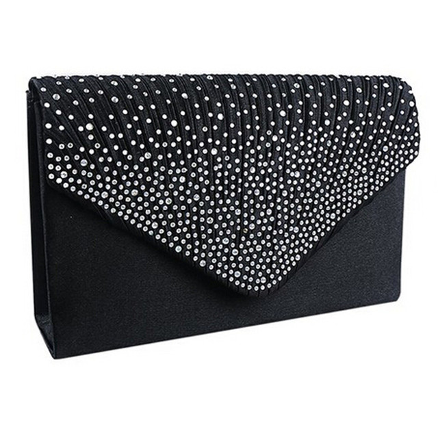 Ladies Satin Clutches Evening Bags Crystal Bling Handbags Wedding Party Purse Envelope Fashion Womens Bags Wallet Clutch Bag Hot
