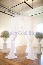 Rould Wedding Canopy Curtain with Stand Wedding Pavilion Backdrop Curtain pure white color 2M Diameter by 3M Tall