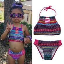 Летний купальник в полоску для маленьких девочек; детский купальник; комплект бикини в винтажном стиле; раздельный купальник на бретелях; пляжная одежда