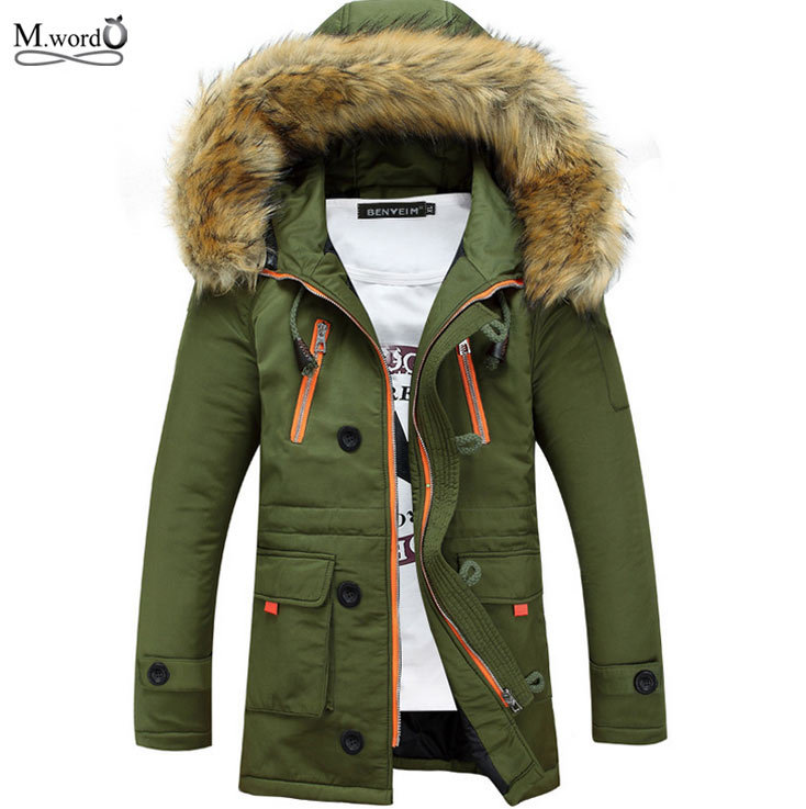 Mwxsd New winter Casual mens fur warm down parkas with fur hat thick jacket coat Slim Fit Outerwear for men jaqueta masculina