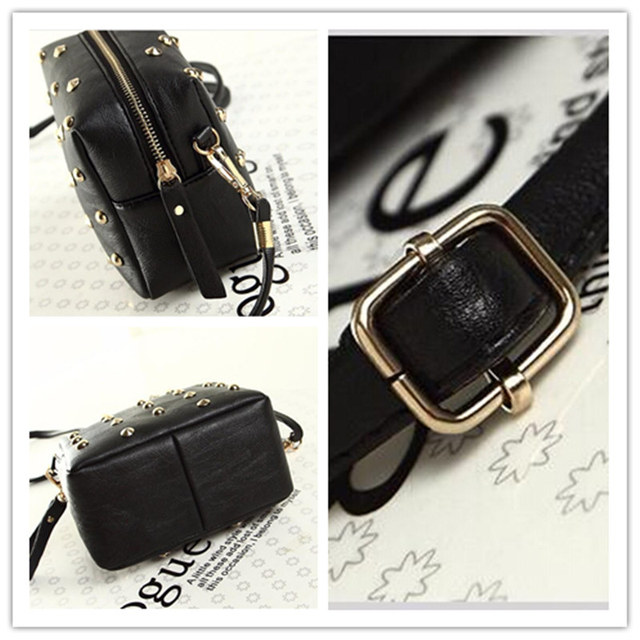 2017 Rivet Women Bags Fashion metal bag Punk Mini Crossbody Bag/Women Messenger Bag Big Enough for IPhone 6