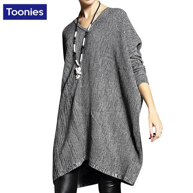 Европа и Американский стиль ветер рукава летучая мышь большой ярдов женщин в длинный абзац шерсть кашемировый свитер свободный