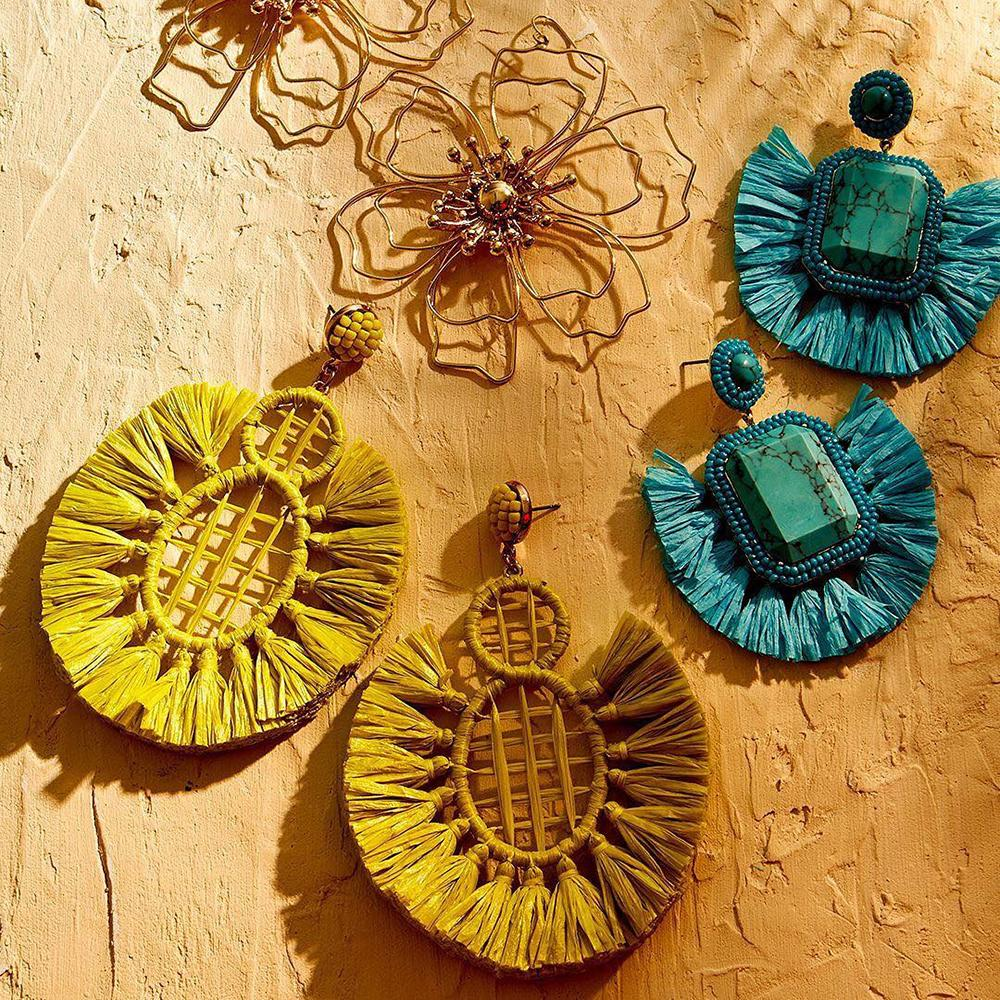 JUJIA Boho Handmade Tassel Fringes Earrings for Women Ethnic Long Dangle Drop Earrings Rattan Wooden Flower Statement Jewelry