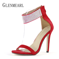 Sexy Women Sandals High Heels Shoes Brand Rhinestone Thin Heel Sandals Woman Flock Open Toe Ankle