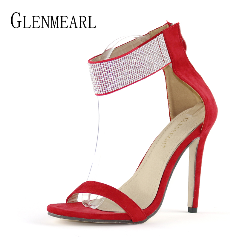 Sexy Women Sandals High Heels Shoes Brand Rhinestone Thin Heel Sandals Woman Flock Open Toe Ankle Strap Party Shoes Female DE wholesale lttl new spring summer high heels shoes stiletto heel flock pointed toe sandals fashion ankle straps women party shoes