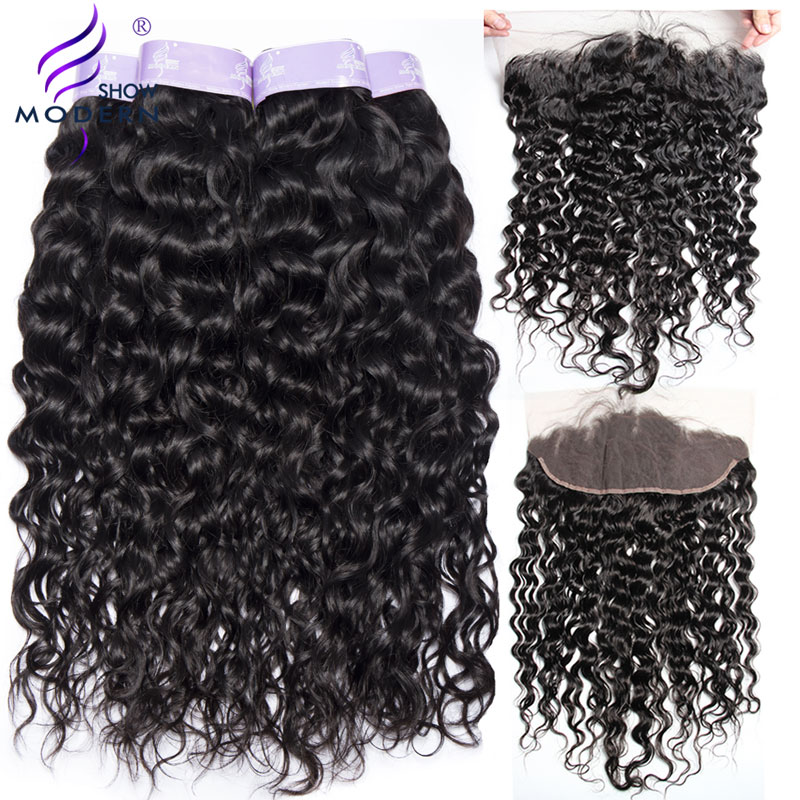 Water Wave Human Hair 3 Bundles With Closure Modern Show Lace Frontal Closure With Bundles Brazilian Hair Weave Non Remy