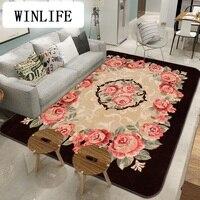 WINLIFE European Style Soft Carpet Flower Rug For Living Room/Bedroom Tea Table Mat Non Silp Rug Washable Mats Large Area Mat