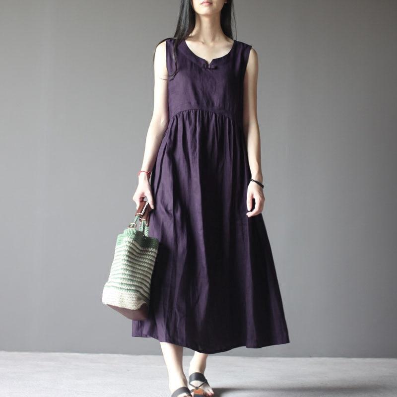 2019 ZANZEA Women Summer Vintage O Neck Sleeveless Loose Cotton Linen Dress Casual Solid Baggy Beach Long Vestido Plus Size