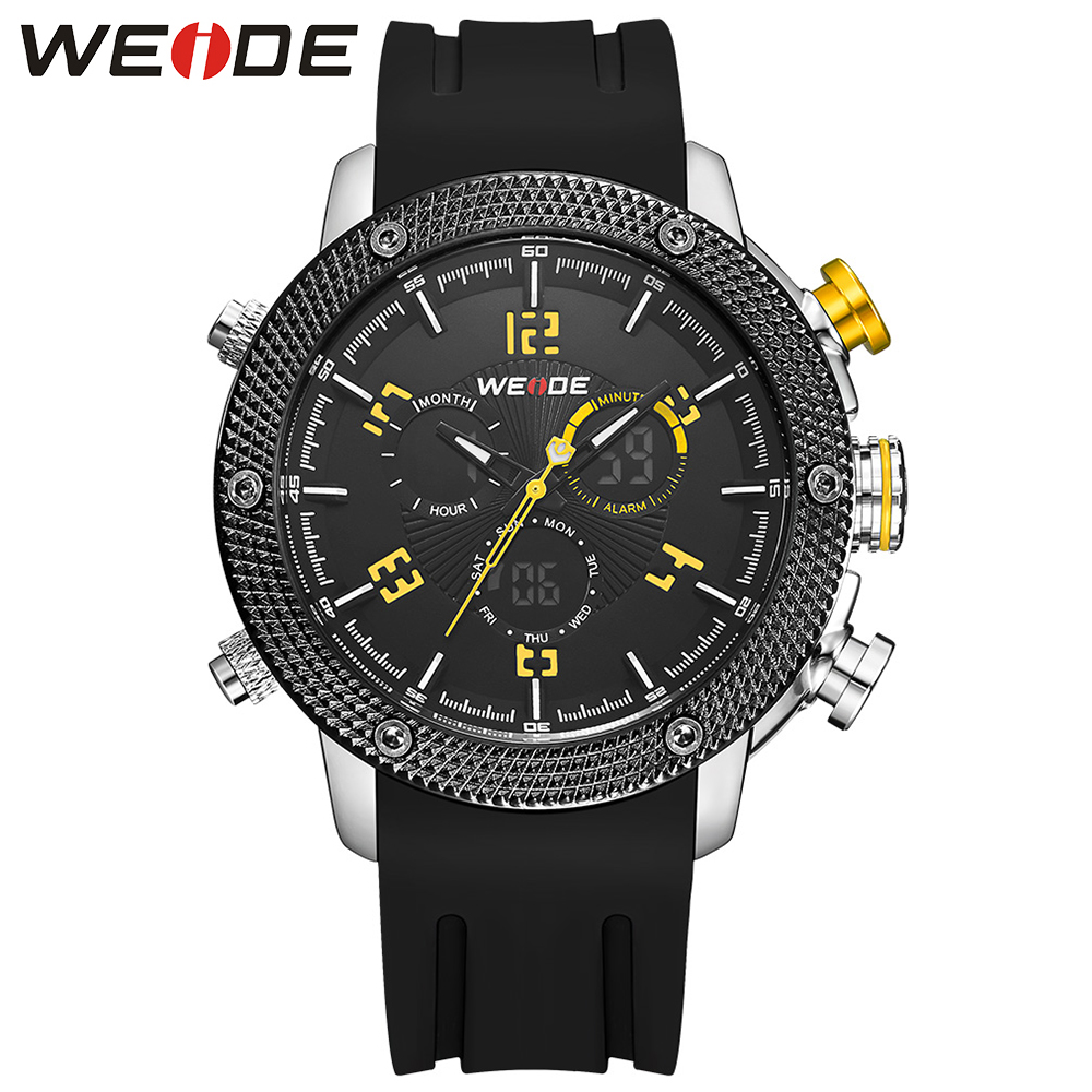 ФОТО WEIDE 2016 Luxury Brand Military Watches Men Quartz Analog Clock Black Yellow Silicone Sports Army Watches relogios masculino