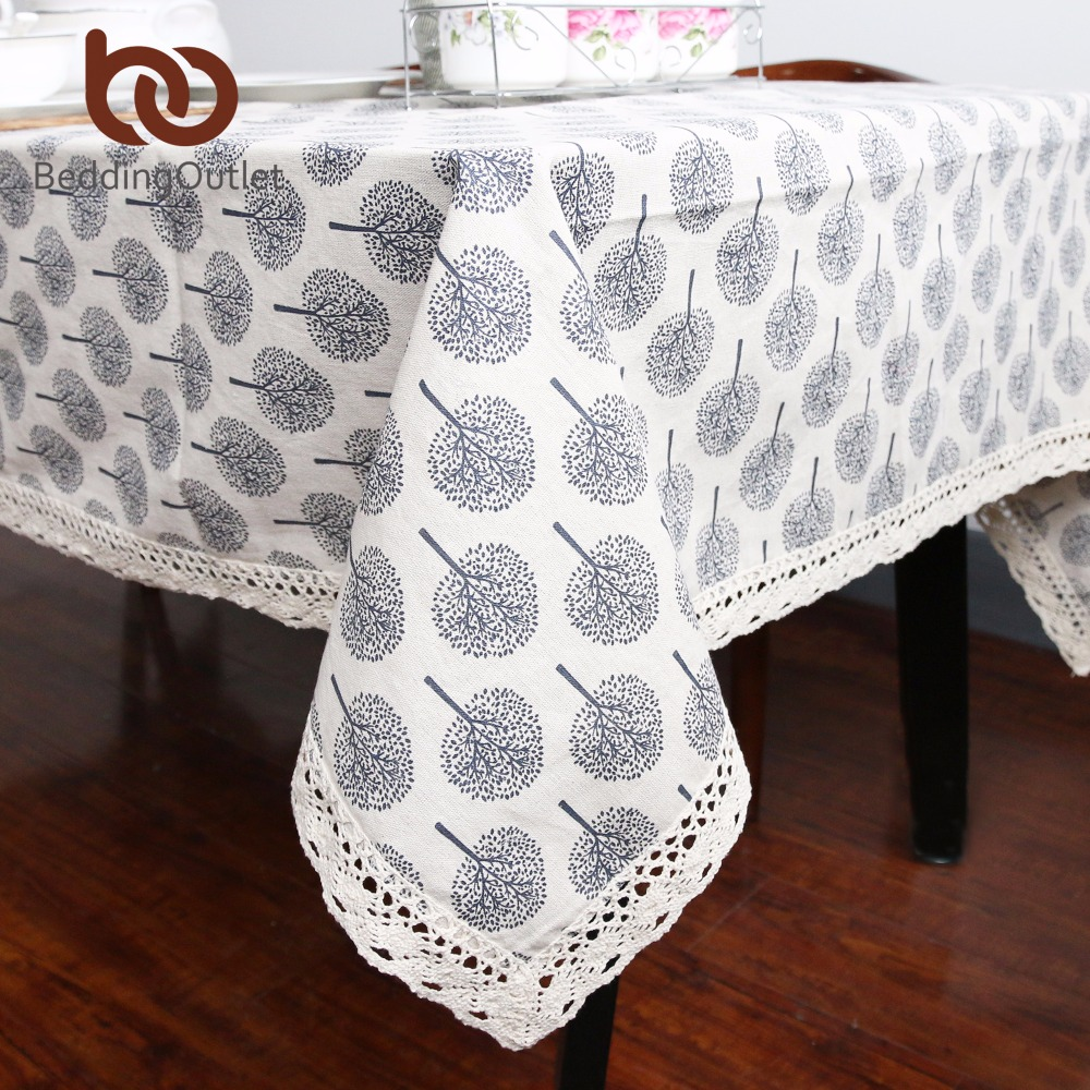 Beddingoutlet tree printed table cloth decorative table cover cotton and linen tablecloth with lace for kitchen living room