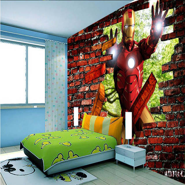 Us 16 73 38 Off Iron Man Brick Photo Wallpaper Avengers Wallpaper Custom 3d Wall Murals Kids Boys Bedroom Corridor Room Decor Home Decoration In