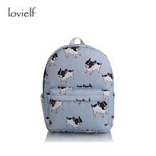 lovielf HOT girl  canvas French bulldog Boston terriers Dogs Animal printing striped cartoon Book Travel School bags Backpack
