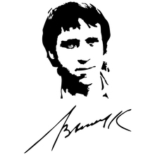 CS-1104#15*21cm Vladimir Semenovich Vysotsky autographed funny car sticker vinyl decal silver/black for auto stickers