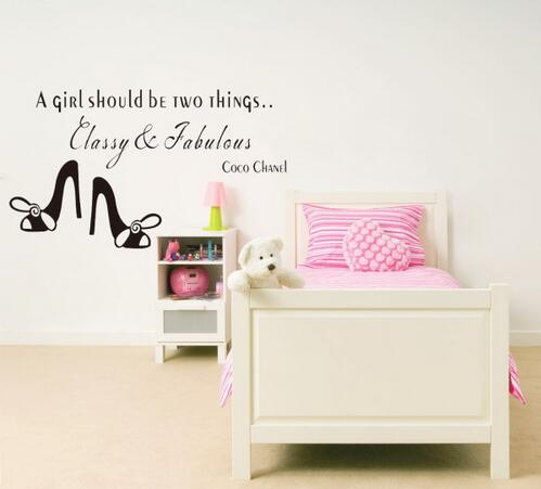 & new Coco English saying a girl should be two things Classy & Fabulous quote wall stickers home decor vinyl wall stickers