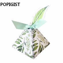 Green forest Style Triangular Pyramid flower leaves Candy Boxes with leaf tags Wedding Favors Bomboniera birthday Party gift box