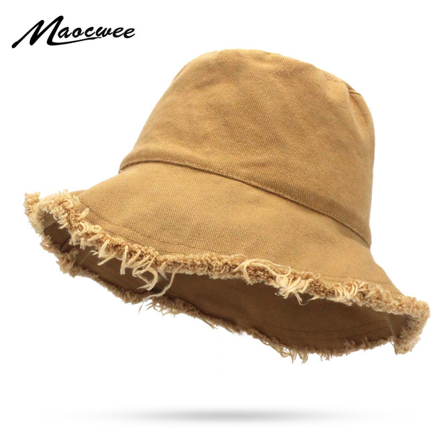 ff002c7bf0b Summer Denim Solid Color Sun Hat Women Fashion Tassel Floppy Cap Ladies  Wide Brim Beach Bucket