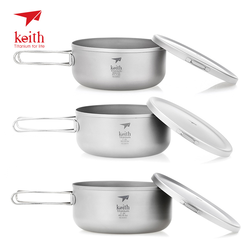 Keith 800/1000/1200ml Titanium Bowl with Folding Handle Lunch Instant Noodle Box Camping Pot with Lid Outdoor Picnic Tableware cute bear bowl with lid