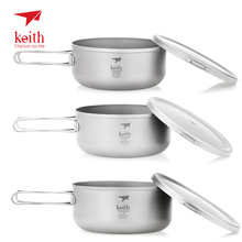 Keith 800/1000/1200ml Titanium Bowl with Folding Handle Lunch Instant Noodle Box Camping Pot Lid Outdoor Picnic Tableware