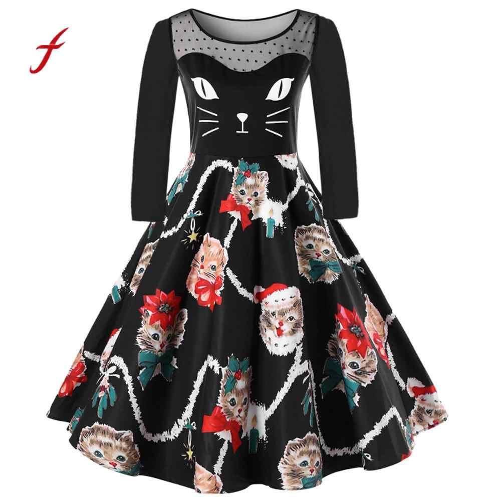 abce2f09db9 Plus Size Women Dress Christmas Celebrity Party Dress Kitten Pattern Lace  Swing Dress Ladies Female Casual