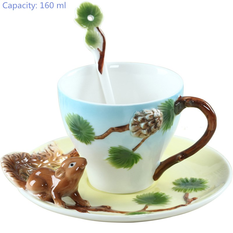 Longfeng couple coffee cup ceramic creative cup bone China 3D colored enamel porcelain cup saucer and spoon coffee tea set