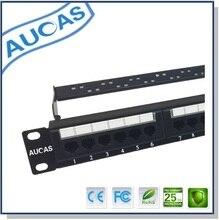 AUCAS 24 ports Cat5e patch panel with rj45 keystone plug UTP 180 degree female keystone adapters