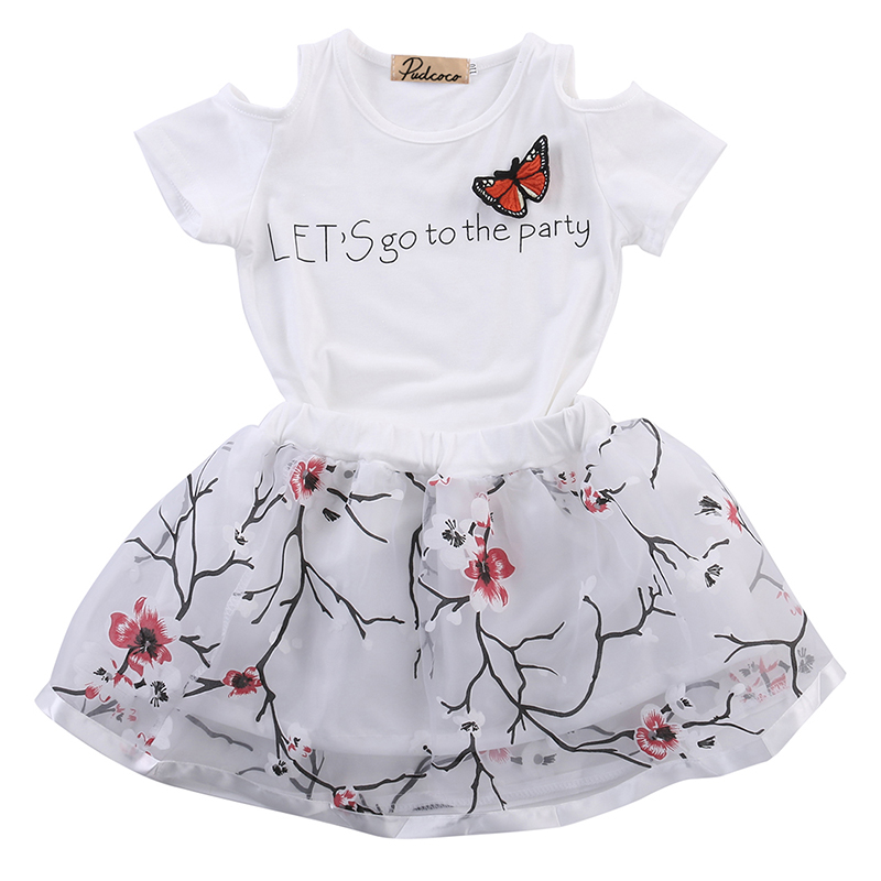 2pcs Toddler Baby Girls Clothing Sets Infant Kids Girl Floral Skirt Outfits Tops Short Sleeve T-shirt Girls Kids Clothes Set infant toddler kids baby girls summer outfit cotton striped sleeveless tops dress floral short pants girls clothes sunsuit 0 4y