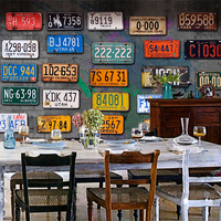 Free Shipping Large Mural Retro License Personality Cement Wall Bar Cafe Lounge Restaurant Wallpaper