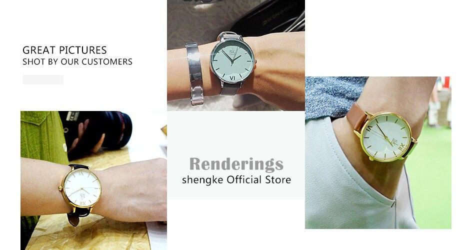 ba1ad94e99cf Shengke reloj de la marca de cuero de las mujeres relojes pulsera ...
