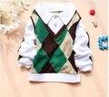 2016 primavera outono bebé roupas de mangas compridas Turn Down camisola de algodão do bebê t-shirt A149