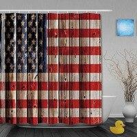 La Bandera de EE.UU. En Antiguos de Madera Que Restaura Maneras Antiguas Cortinas De Ducha Anti-bacterial Tela Personalizado Cortina de Baño Con Ganchos