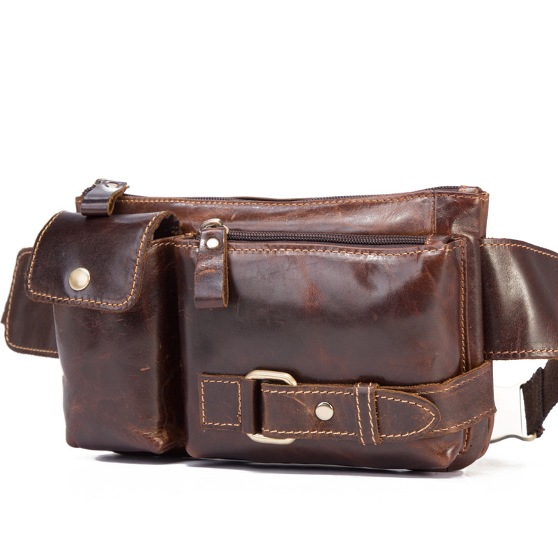 Mens new retro leather purse The first layer of oil wax leather leisure tide Pockets cool mens bag