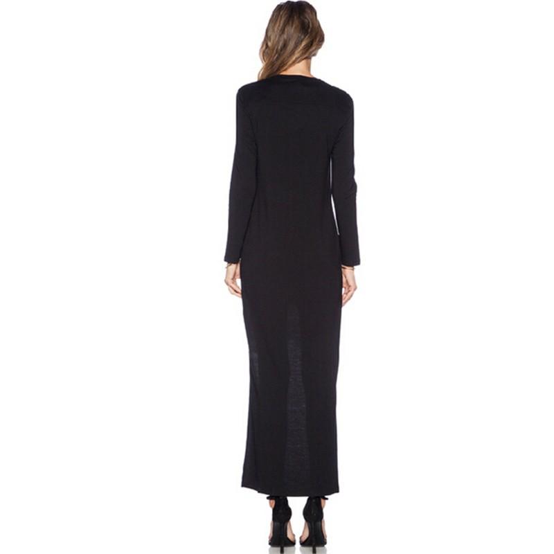 Lace Patchwork Asymmetrical Dress desigual  Fashion Women O-neck Long Sleeve Elegant Black Dress vestido  (3)