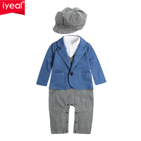 IYEAL Newest Baby Boy 1st Birthday Romper With Hat Toddler Boys Clothes Children Infant Jumpsuits Little Baby Gentleman Suit