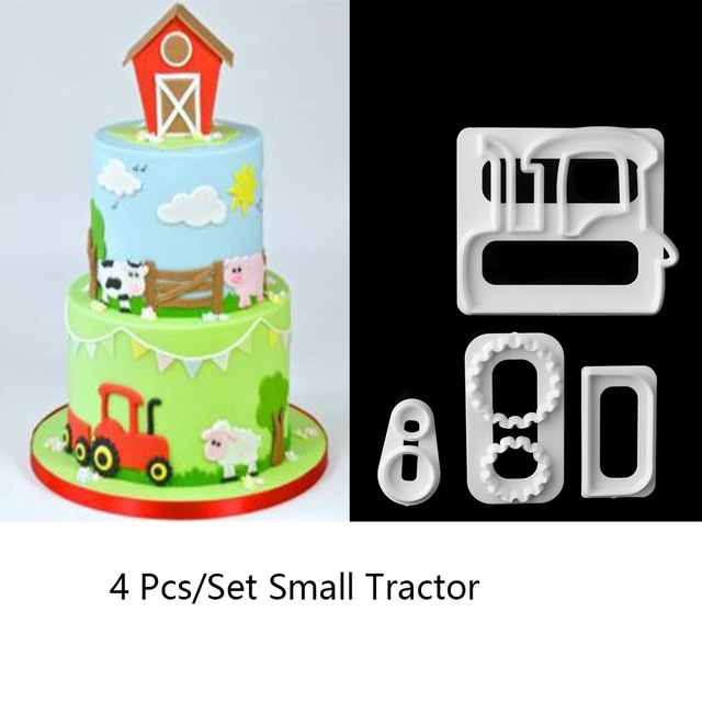 Us 1 02 11 Off 4 Stucke Kleine Traktor Kunststoff Fondant Schneider Kuchenform Fondant Cupcake Dekorieren Tools Neue In 4 Stucke Kleine Traktor
