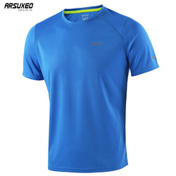 ARSUXEO Summer Men's Running T Shirts Active Short Sleeves Quick Dry Training Gym Crossfit  Fitness Jersey Sports Clothing