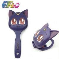 Sailor moon luna kedi saç tarak saç fırçası makyaj tarak ayna kozmetik ayna Aksesuarları set