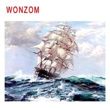 WONZOM Ship Sailing Diy Painting By Numbers Sea Waves Oil Cuadros Decoracion Acrylic Paint On Canvas Modern Wall Art