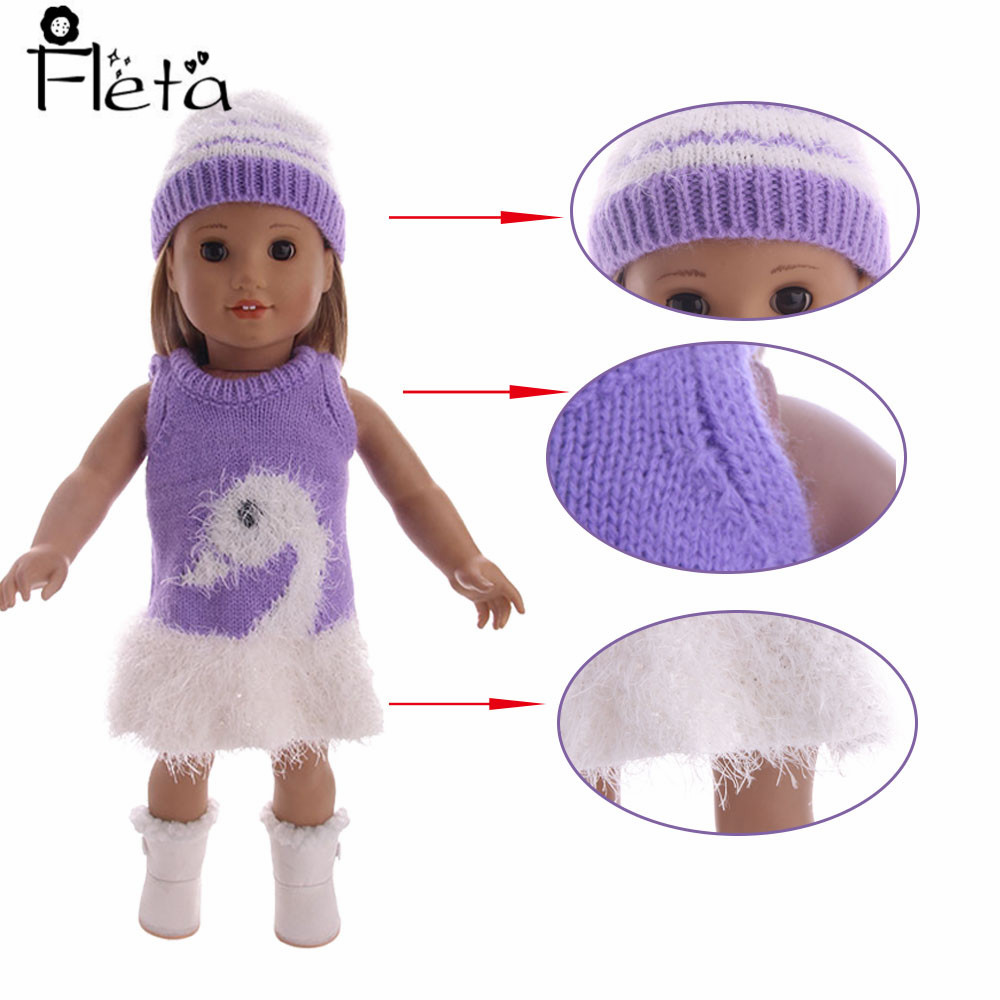 Fleta Doll Winter Warm Sweater Dress Purple Pattern + Hat for 18 Inch American or 43cm Christmas Gift