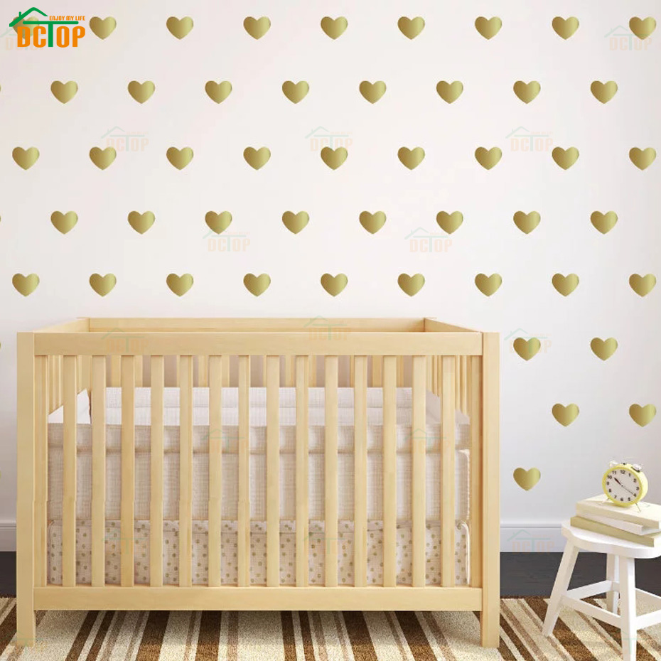 Cartoon, Decals, Wall, Silver, Kids, Hearts