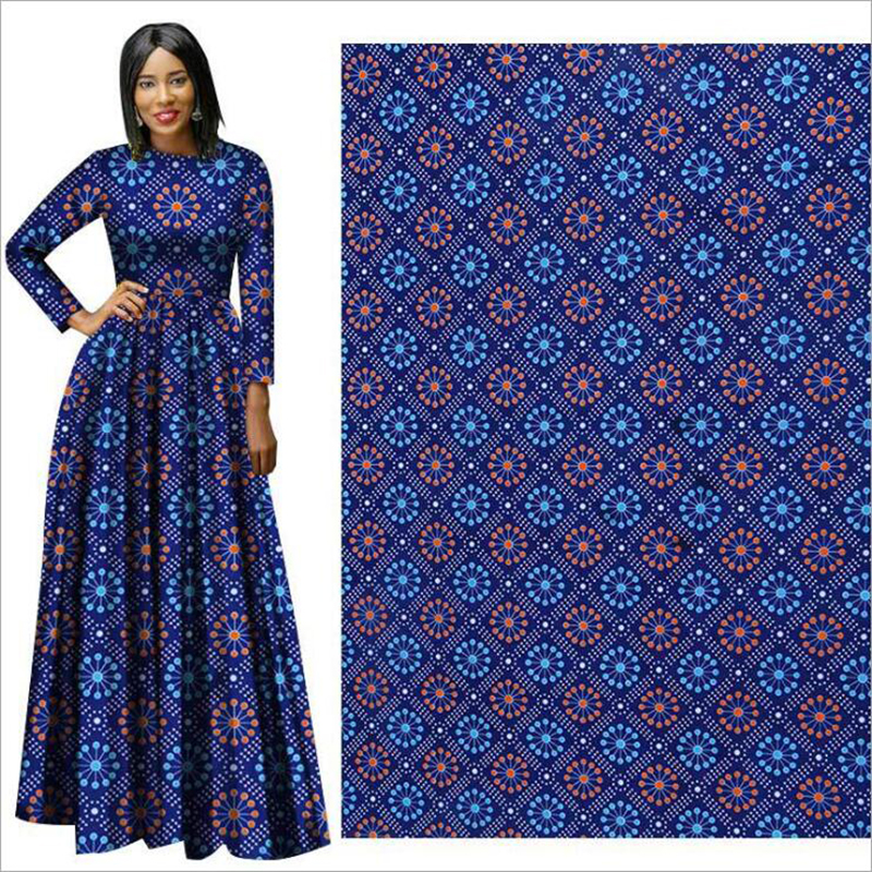 Me-dusa 2019 blue African Print Wax Fabric 100% Polyester Hollandais Wax DIY Dress Suit cloth 6yards/lot high quality wholesale(China)