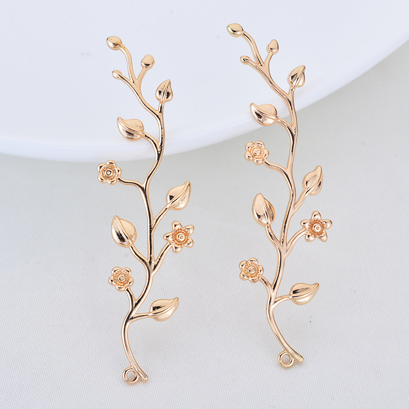 4PCS 16x55MM 24K Gold Color Plated Brass Flower Vine Pendants Charms High Quality Diy Jewelry Findings Accessories image