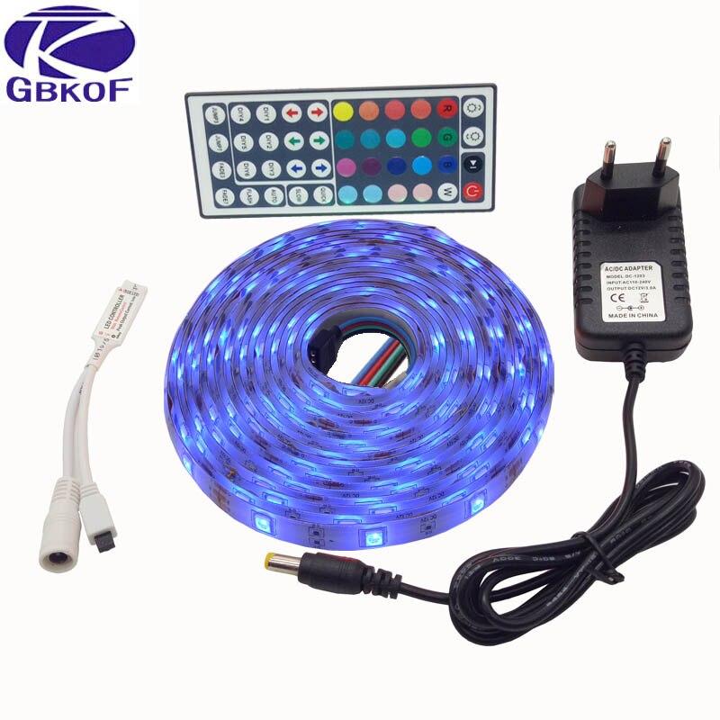 SMD RGB LED Luce di Striscia 5050 10 m 5 m 30 Leds/m ha condotto Nastro diodo nastro impermeabile 44Key Remote Controller DC 12 V power adapter set